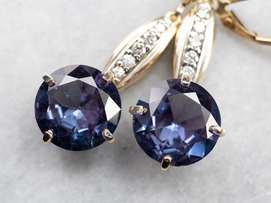 Synthetic Alexandrite Diamond Drop Earrings