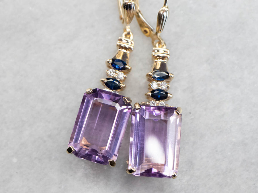 Amethyst Diamond and Sapphire Drop Earrings