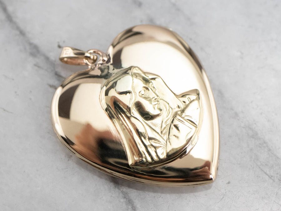 Religious Gold Heart Locket