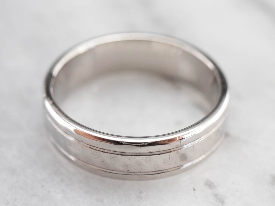 Hammered Palladium Men's Band Ring