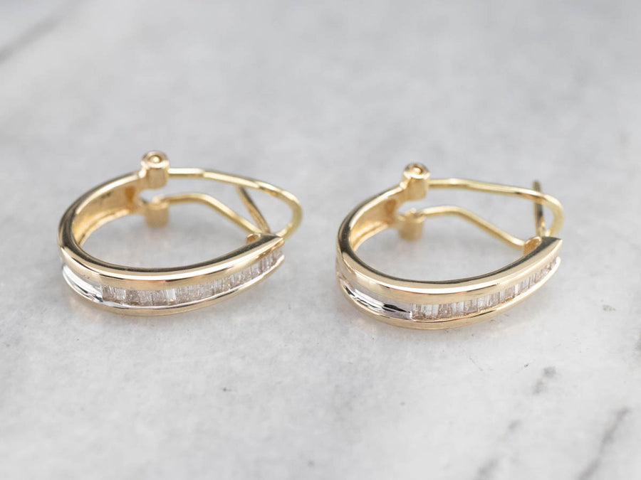 Baguette Cut Diamond Gold Hoop Earrings