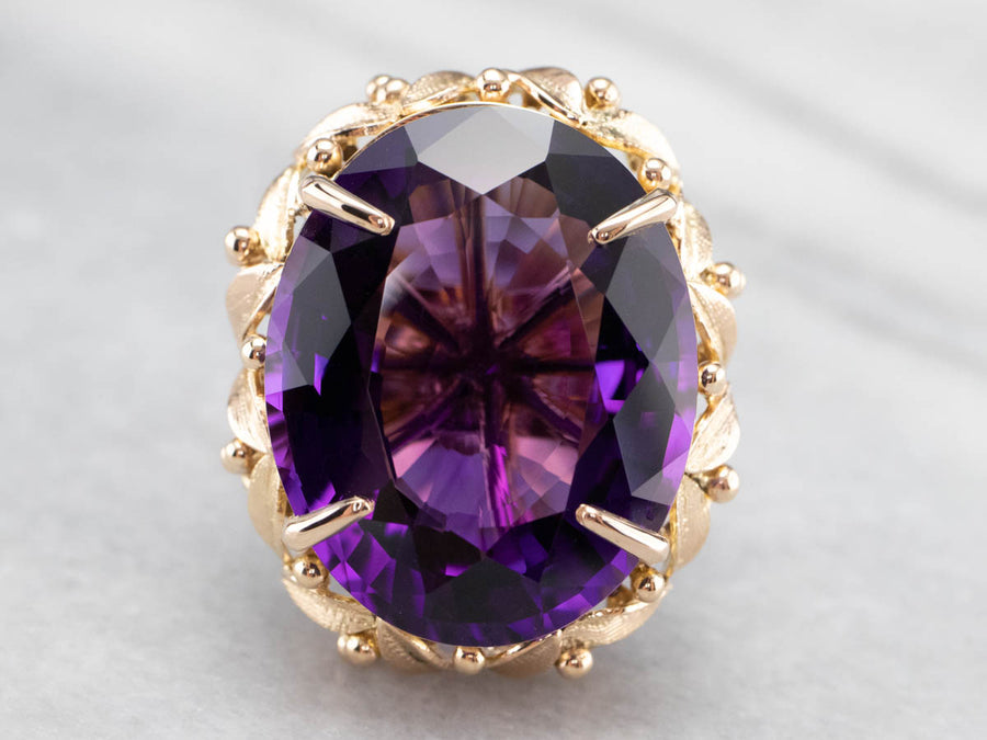 Botanical Amethyst Gold Statement Ring