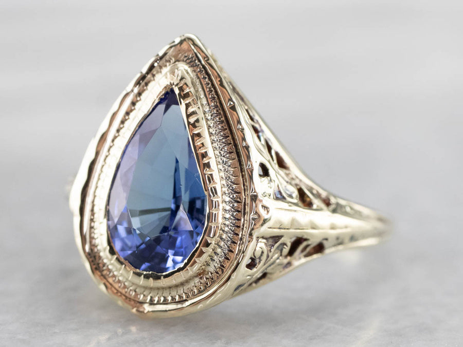 Antique Tanzanite Filigree Ring