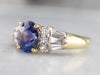High 18K Gold Sapphire and Diamond Ring