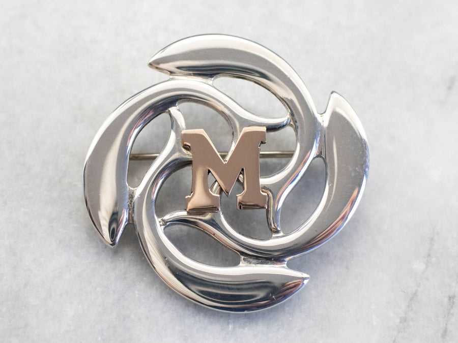 "Funky Silver and Gold ""M"" Initial Brooch"