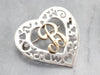 "Sweetheart Silver and Gold ""B"" Initial Brooch"
