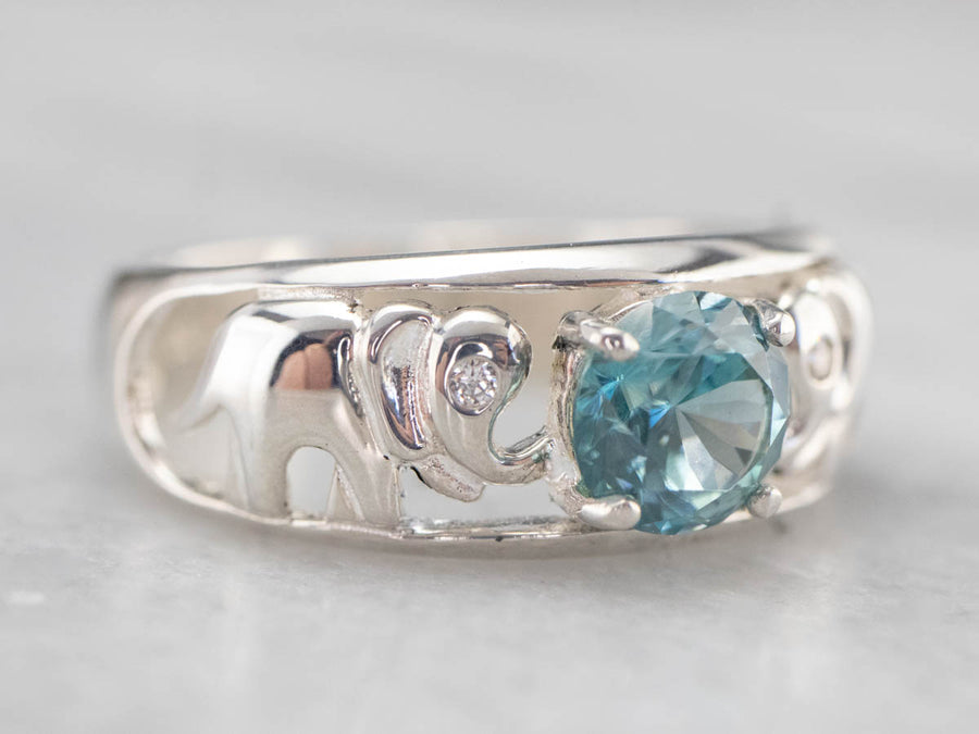 Sterling Silver Blue Zircon Elephant Ring