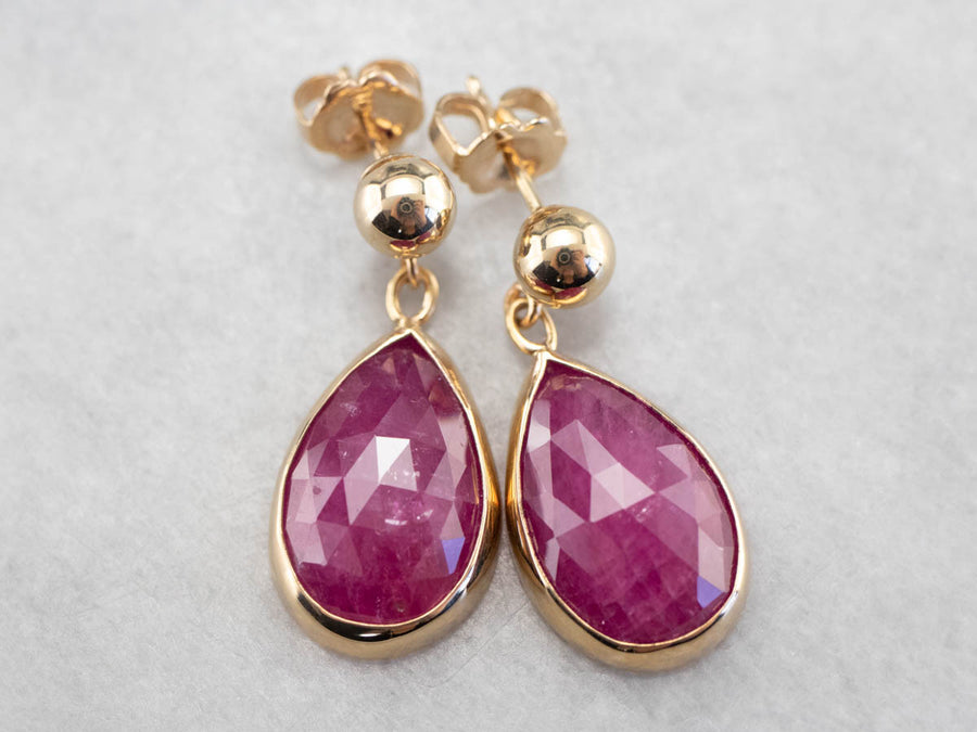 Faceted True Ruby Teardrop Earrings