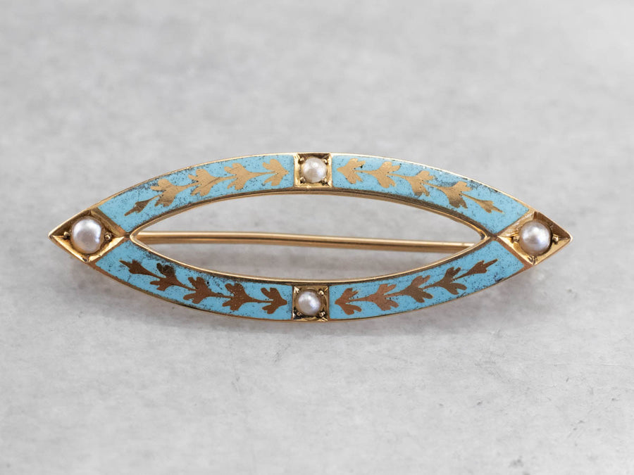 Antique Enamel Seed Pearl Pin