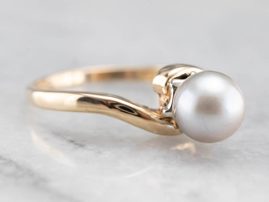 Grey Pearl Bypass Ring