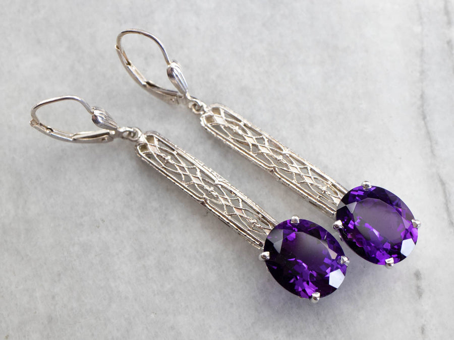 Amethyst Filigree Drop Earrings