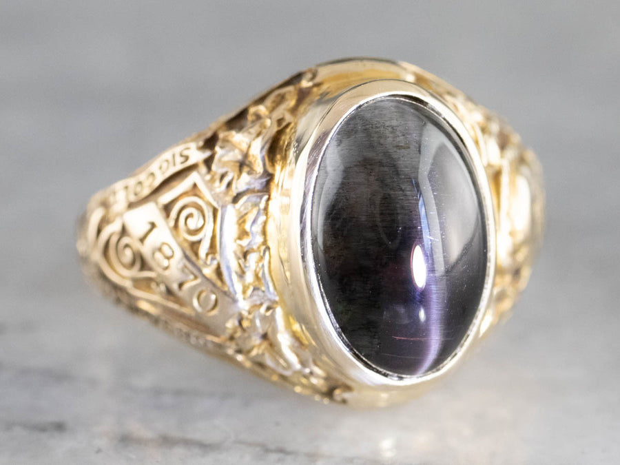 Cat's Eye Spectrolite Gold Hunter College Class Ring