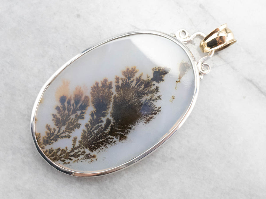 Dendritic Agate Mixed Metal Statement Pendant