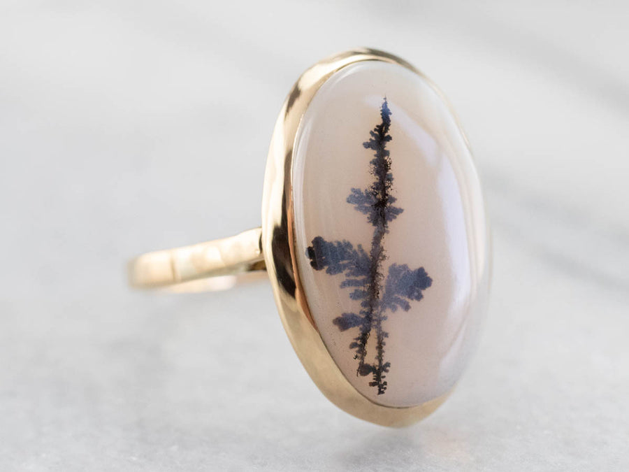 Vintage Dendritic Agate Gold Ring