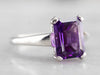 Platinum Amethyst Solitaire Ring