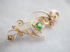 Art Nouveau Demantoid Garnet Crescent Moon Brooch