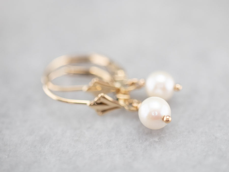Gold White Pearl Drop Earrings