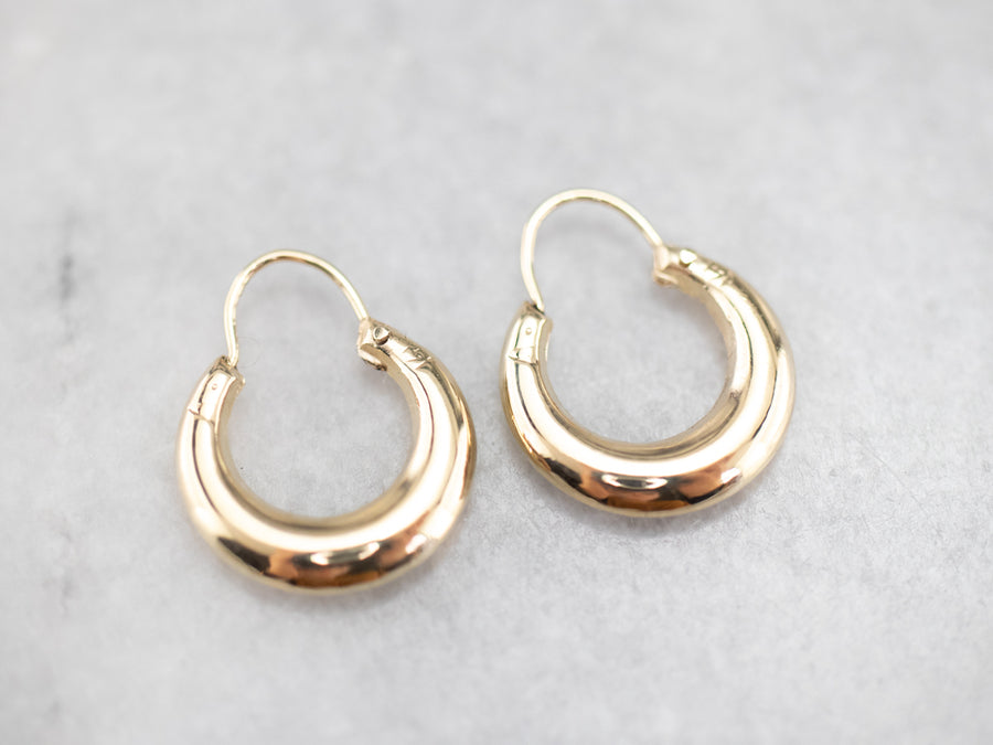 Small Puffy Gold Hoop Earrings