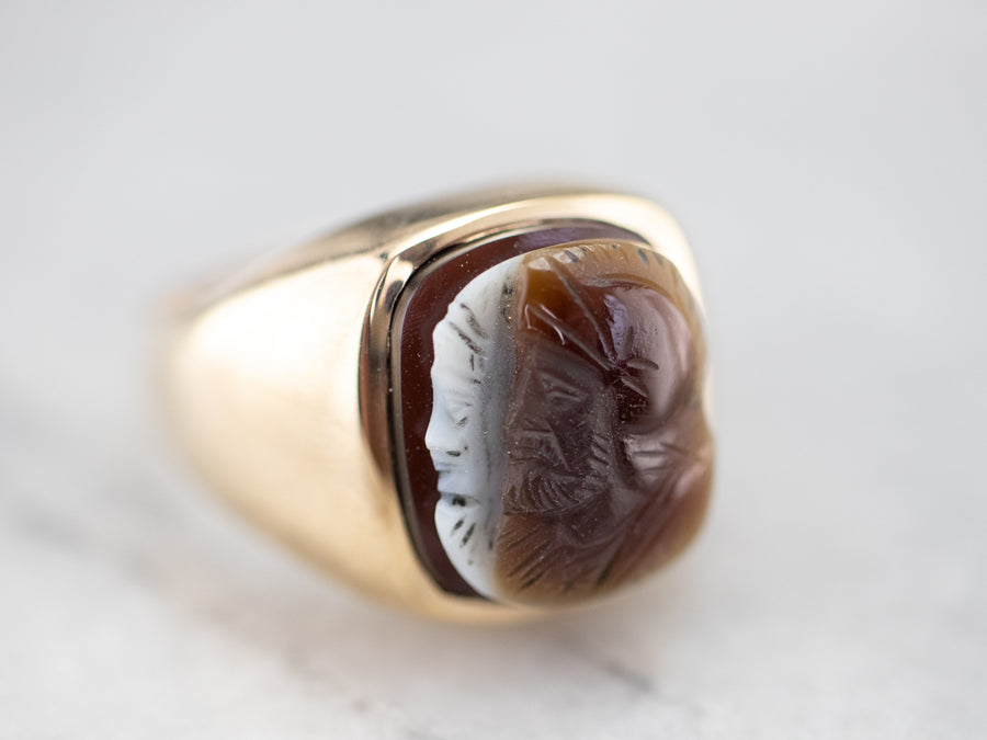 Husband and Wife  Gold Sardonyx Cameo Ring