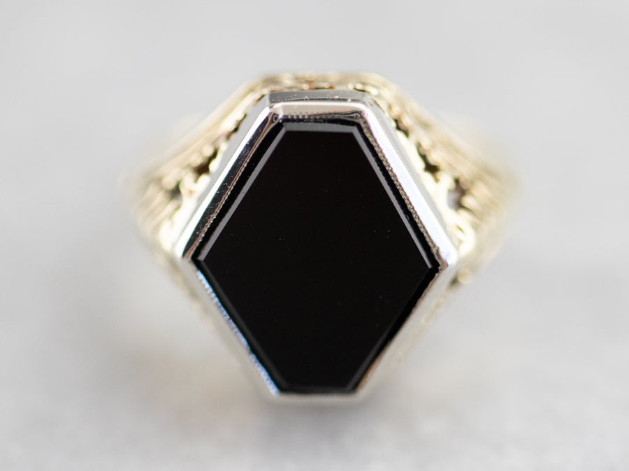 Art Deco Black Onyx Green and White Gold Ring