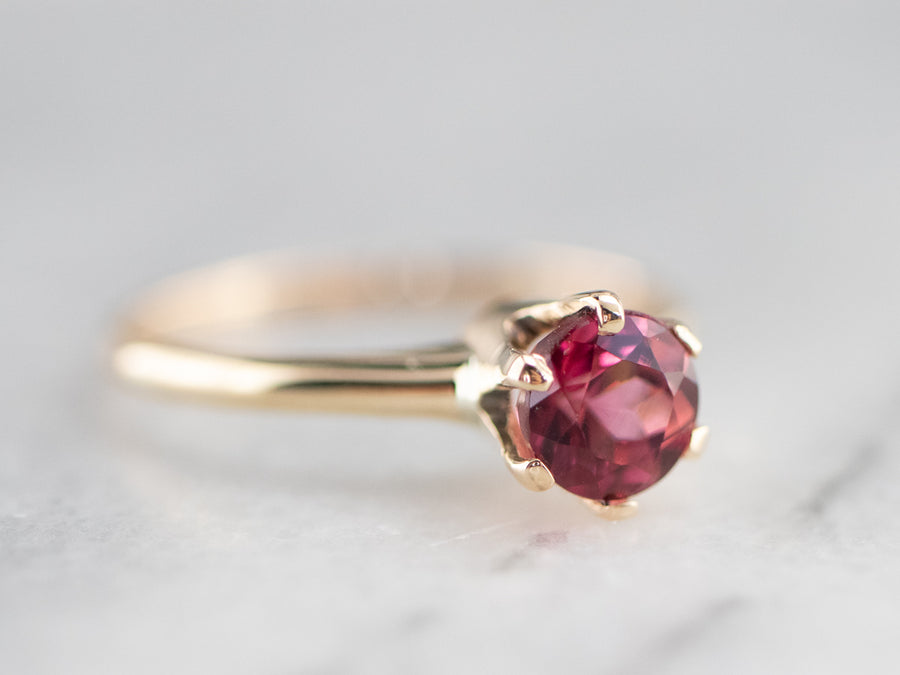 Antique Pink Tourmaline Solitaire Ring