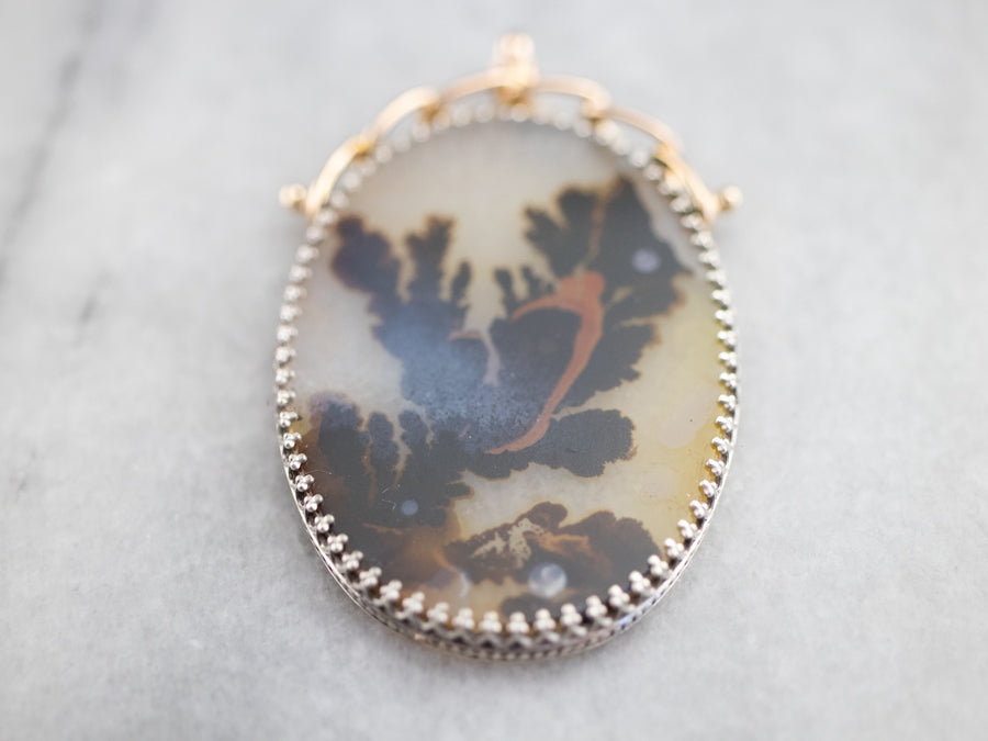Dendritic Agate Mixed Metal Pendant
