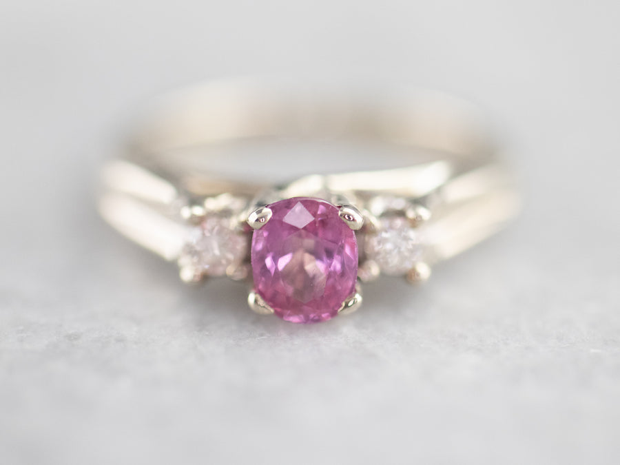 Pink Ceylon Sapphire and Diamond Ring