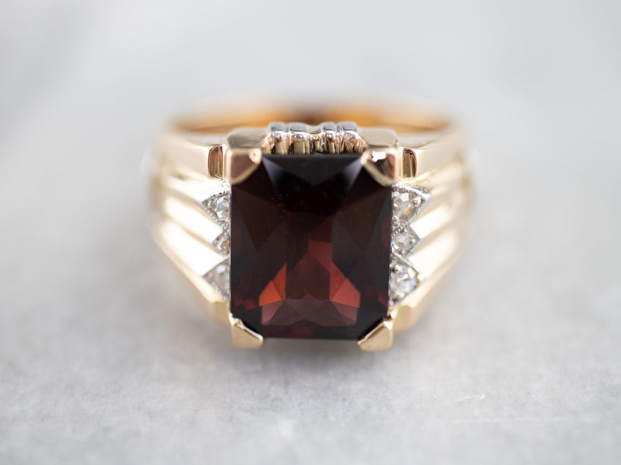 Men's Mid Century Garnet and Diamond Ring