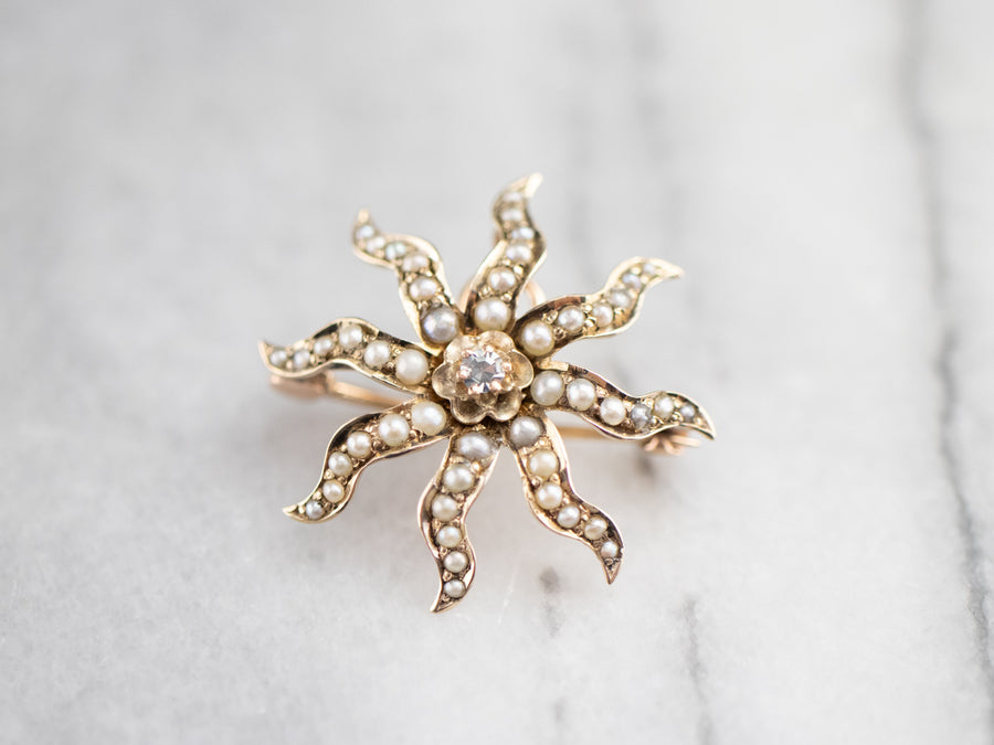 Antique Diamond and Seed Pearl Sunburst Pin