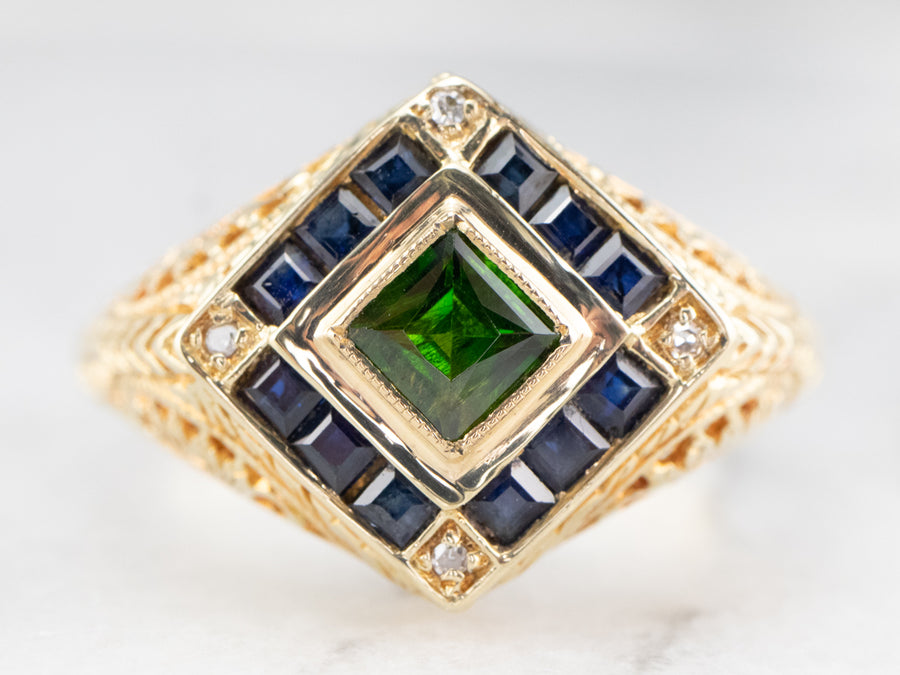 Demantoid Garnet Sapphire and Diamond Ring