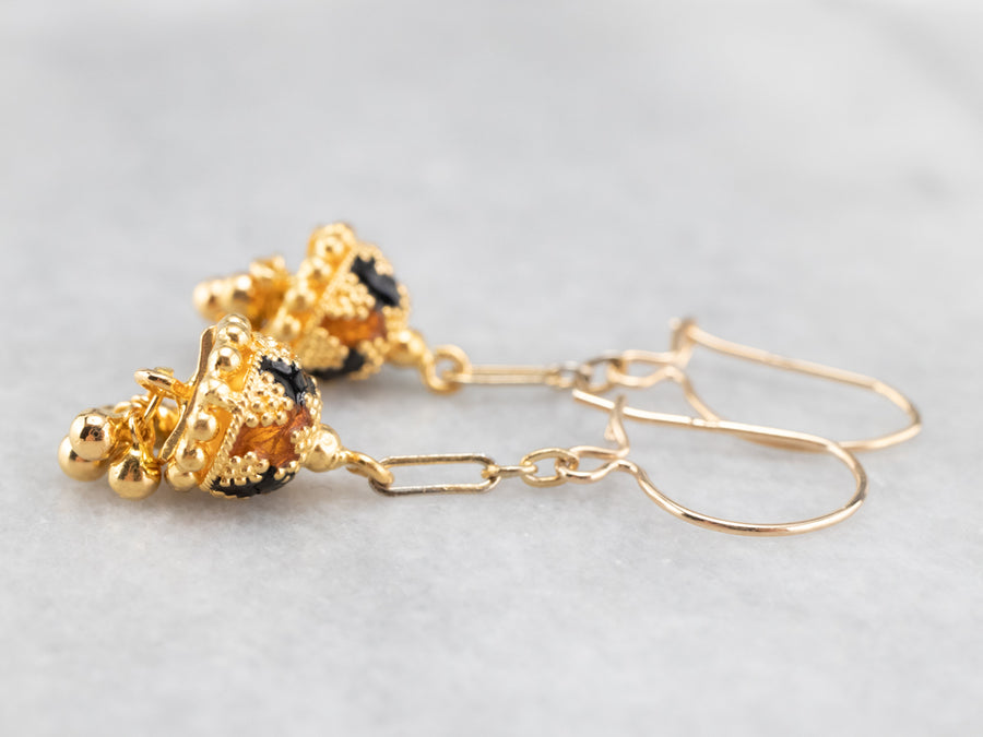 Colorful Gold Beaded Drop Earrings