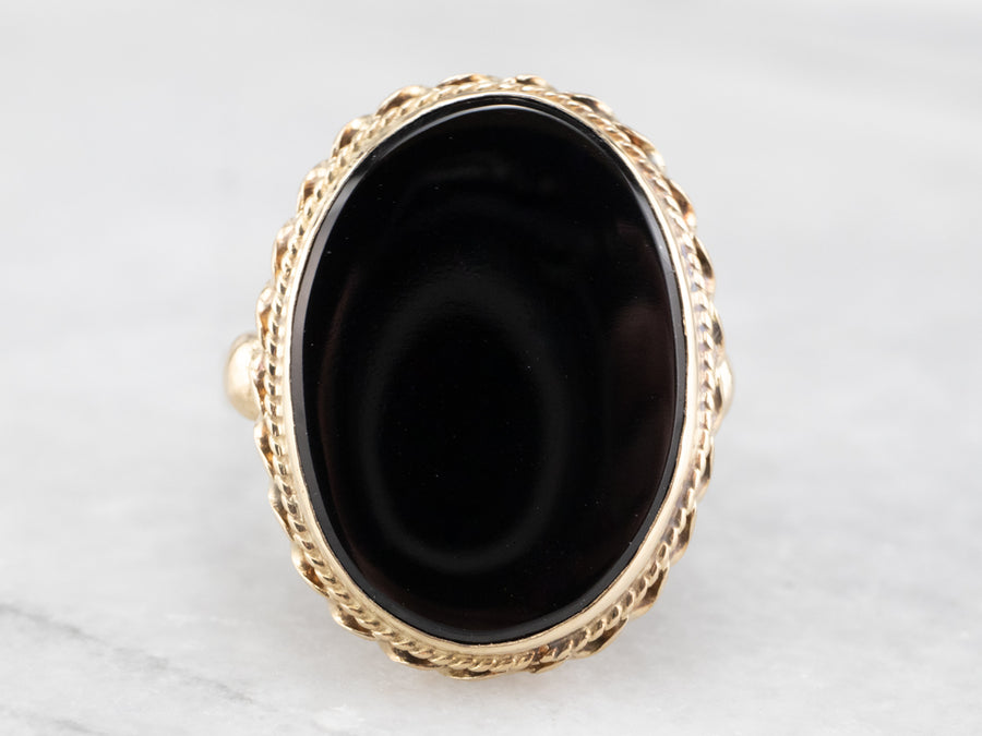 Mid Century Black Onyx and Gold Ring