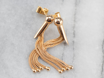 Portuguese Gold Tassel Drop Earrings