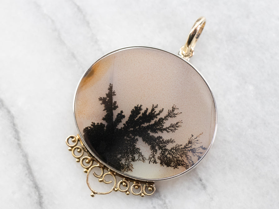 Silver and Gold Shazar Stone Agate Pendant