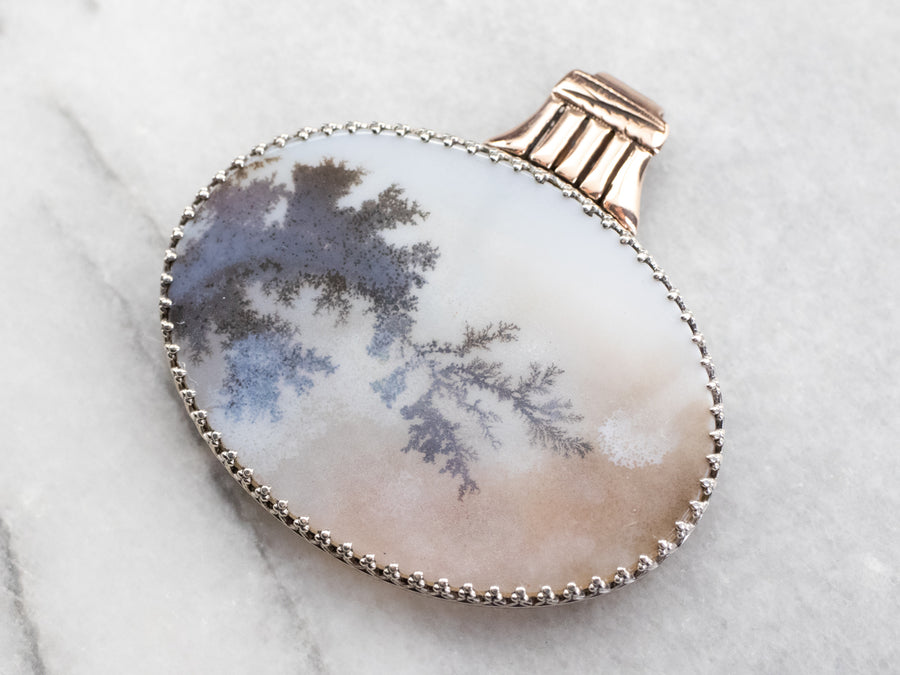 Silver and Rose Gold Agate Pendant