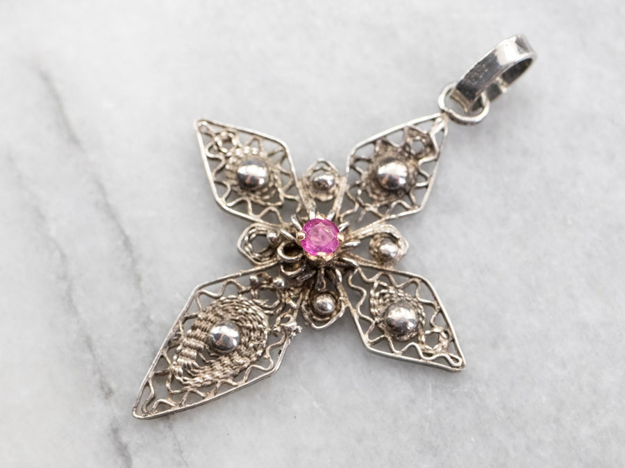 Silver and Gold Pink Sapphire Filigree Cross