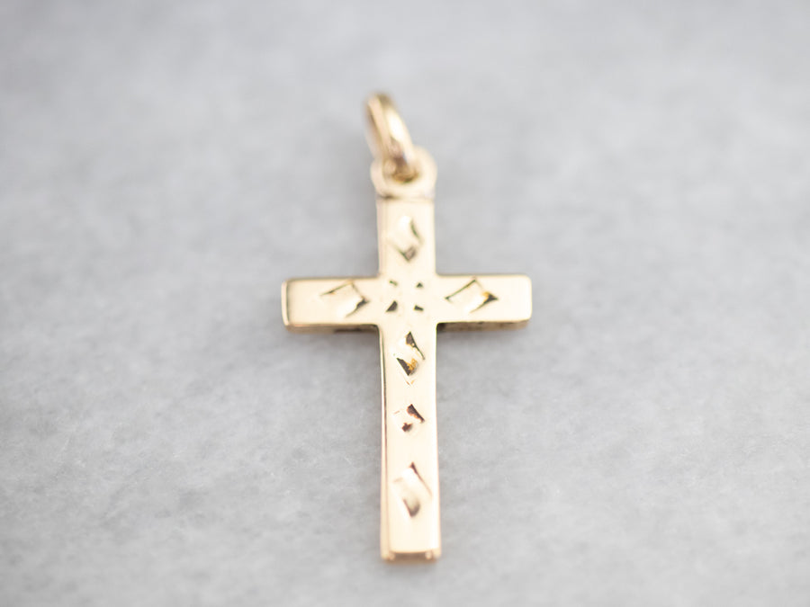 Small Vintage Gold Cross Pendant