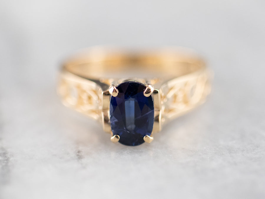 Gold Sapphire Filigree Solitaire Ring