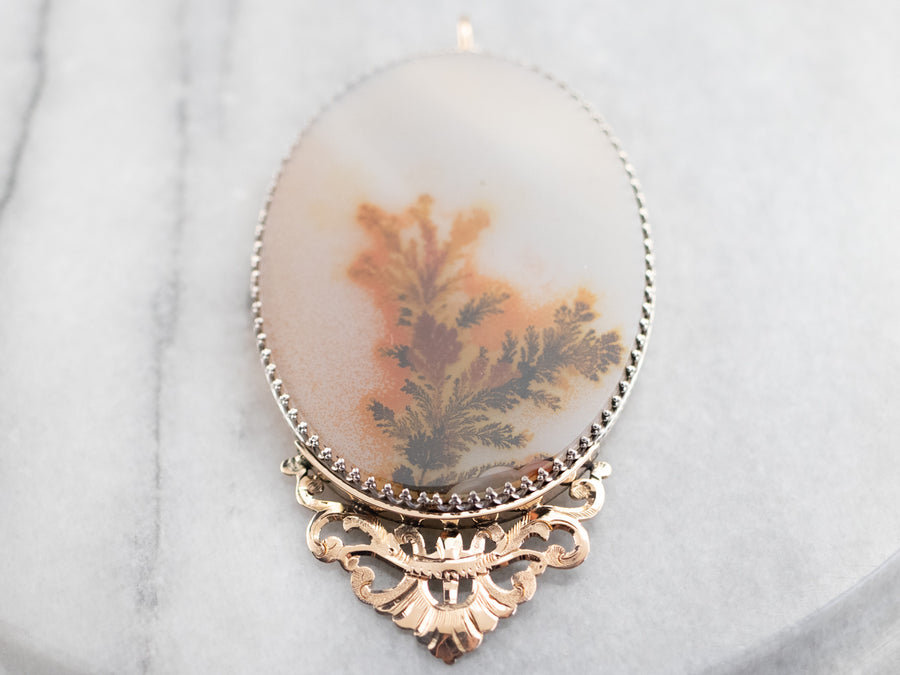 Upcycled Dendritic Agate Mixed Metal Pendant