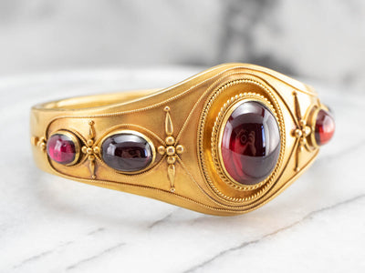 Antique Bloomed Gold Garnet Bracelet