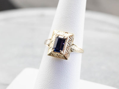 Engraved Purple Sapphire Ring