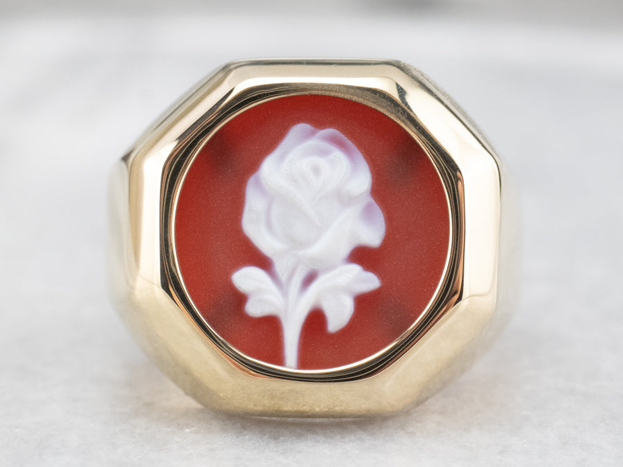 Vintage Sardonyx Cameo Rose Statement Ring