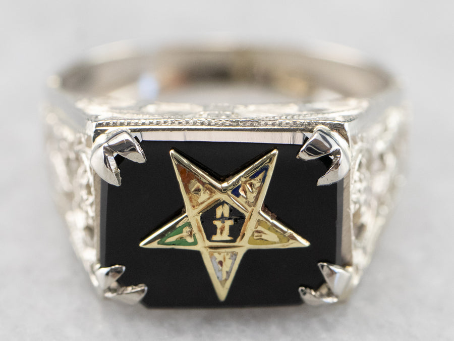 Onyx 1920s Enamel Eastern Star Ring