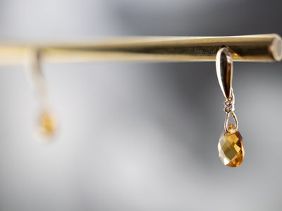 Gold Citrine and Diamond Drop Earrings