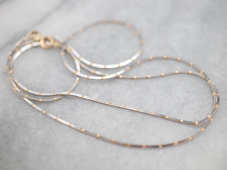 Two Tone Gold Box Chain Necklace