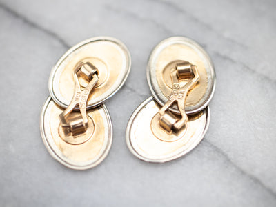 Etched Art Deco Two Tone Gold Cufflinks