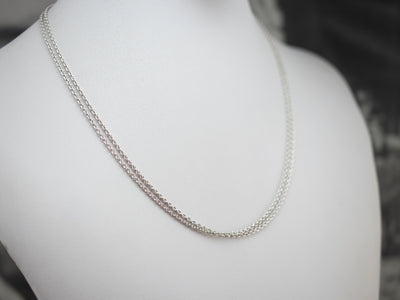 White Gold Double Layer Chain Necklace