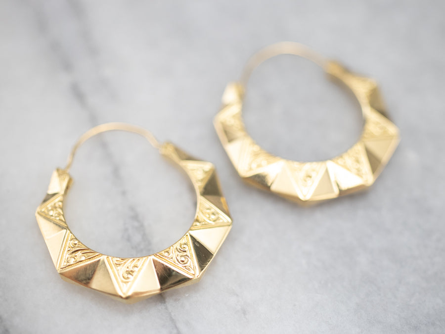 Engraved Gold Hoop Earrings