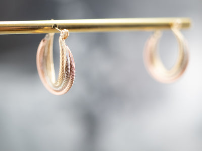 Nautical Tri-Color Gold Hoop Earrings