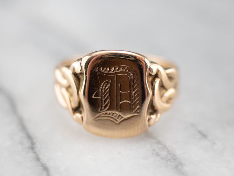 "Victorian Gothic Letter ""D"" Signet Ring"